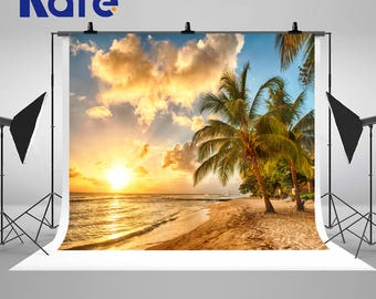 Beach Sunset Coconut Trees Photography Backdrops Golden Sands Photo Backgrounds for Couple Honeymoon Vacation Studio Props