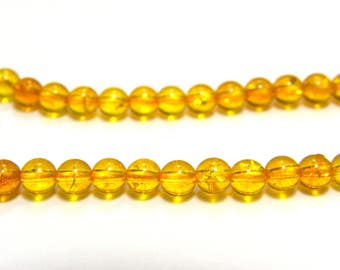 Round Natural Citrine - Real Gemstone Beads - 4 mm