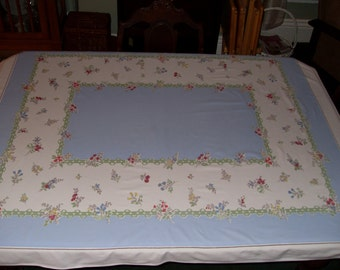 Vintage Blue and White Tablecloth with Flowers