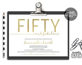 Fifty and Fabulous Adult Birthday Party Invite Invitation Thirty Forty Sixty Seventy 30 40 50 White Gold Simple Modern Pretty Vintage Rustic