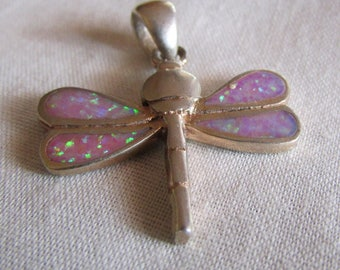 Sterling Silver and Lab Created Opal Dragonfly Pendant