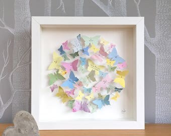 Personalisable butterfly wall art - pastel butterflies - wedding gift - butterfly art - personalised picture - nursery decor