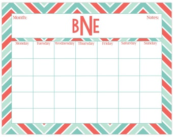 Large desk calendar, chevron print, monthly calendar or weekly calendar, personalized desk calendar, custom desk calendar