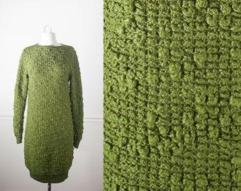 Olive Green Sweater Dress, 70s Dress, Oversized Sweater, Vintage Green Dress, Knit Dress, Slouchy Tunic Top, Bohemian Clothing, 80s Dress