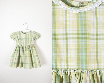 1950s Baby Dress, 50s Style Dress, Baby Girl Clothing, Girls Dress, Plaid Dress, Retro Baby Clothes, 50s Dress, 60s Dress, Olive Green Dress