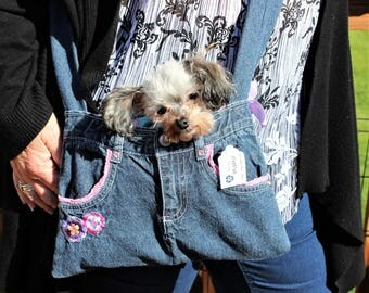PET SLING CARRIER XXSmall Teacup / Purse made from Upcycled Jeans Pink W/Flowers