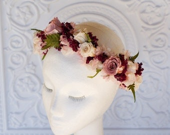 Flower crown in dusty rose, marsala, ferns, blush pink and ivory, real preserved dried flowers, hair flowers, flower halo, wreath
