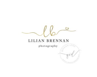 Premade boutique gold logo, Heart gold logo, Photographer logo, Wedding Jewelry Logo Crafter, Golden Logo Template Personalized, Modern