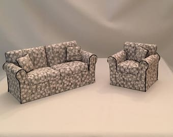 Dollhouse Miniature  Sofa and matching chair. Handcrafted in cotton with poly fill on a wood frame.