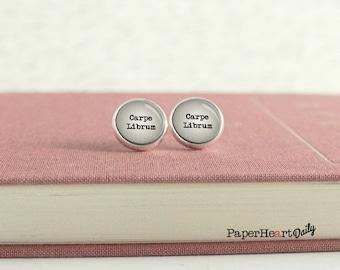 Carpe Librum Earrings - Librarian Jewelry - Librarian Gift - Carpe Librum - (H0086)