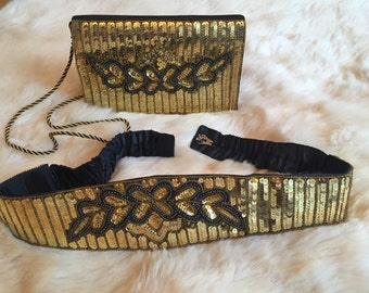 Gold sequin evening bag with matching belt