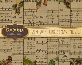 Vintage Christmas Sheet Music Digital Paper, Scrapbook Paper, Decoupage, Printable Christmas Carols