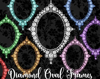 Diamond Oval Frames Clipart, princess vanity photo frame, glam sparkle bling frame clip art, oval princess frame, png digital wedding frame