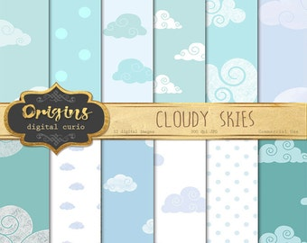 Cloudy Sky Digital Paper, Cloud Scrapbook Paper, weather pattern backgrounds instant download commercial use