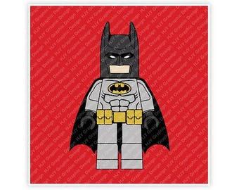 Lego, Batman, Mini Figure, Movie, Cape, Illustration, TShirt Design, Cut File, svg, pdf, eps, png, dxf