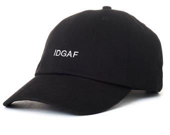 Black IDGAF Dad Cap Low Profile Hat Snapchat