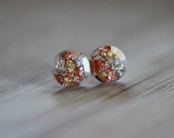 Resin Studs 3&1 Cooper Flakes Silver Flakes Gold Flakes Resin Non Allergy Studs Simple Studs