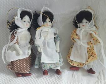Vintage bisque PIONEER DOLL ornaments