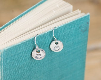 Fine Silver Heart Earrings - Silver Heart Earrings - Heart Charm Earrings - Silver Heart Charms - Fine Silver Earrings - Heart Earrings