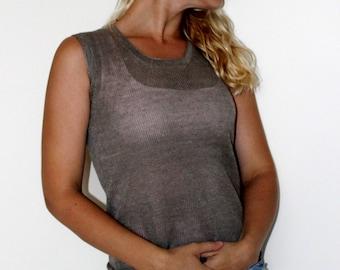 New summer linen top- women linen naturale gray blouse for woman,knitted linen top,linen tops,linen clothing,eco friendly, summer clothes