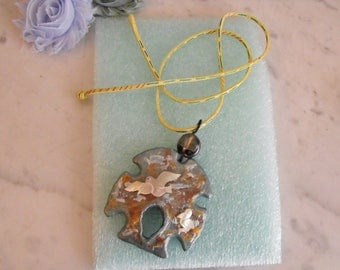 Hand Painted Sand Dollar and MOP Pelican Pendant With Decorated Cord