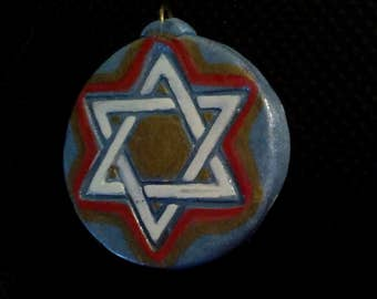 Colorful, Two Sided! Two-Sided, Star of David Pendant; Gold, Red, White and Blue Star of David Pendant