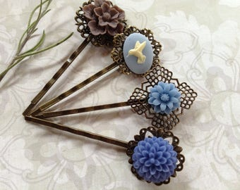 Blue Hummingbird And Floral Cabby Hair Clips