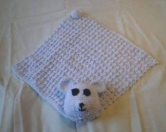 Crocheted Light blue Amigurumi bear blanket/lovey