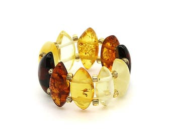Amber Ring - Amber Beaded Ring - Amber Stretch Ring - Multicolored Amber Ring - Amber Statement Ring - Baltic Amber Jewelry -DO-107