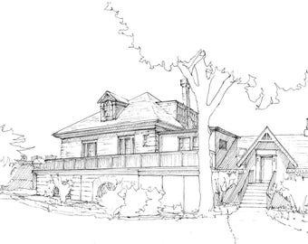 Ink sketch of the Fairmount Boathouse on Boathouse Row in Philadelphia, Pennsylvania