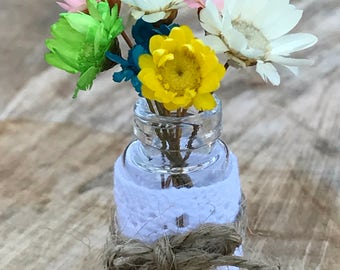 "Dollhouse Miniature Wild Flower Vase Bouquet Rustic Mason Jar 1"" scale 1:12"