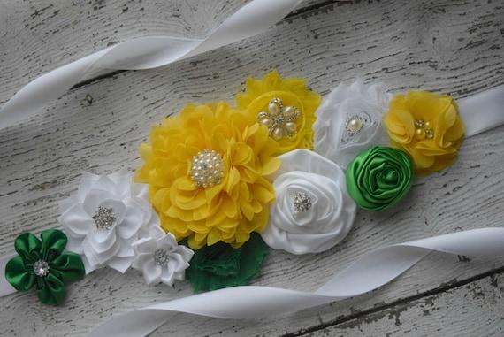Flower Sash, Green yellow and white Sash , flower Belt, maternity sash, flower girl sash