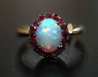 14k Yellow Gold Natural Opal & Ruby Oval flower Ring 2.12ctw