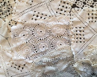 Lot of 26 Vintage Crochet Doilies - White and Off-White