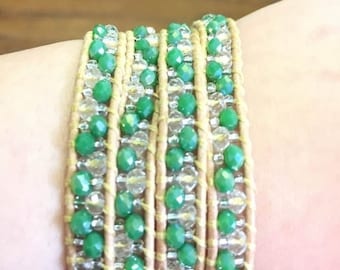 Green apple leather bracelet