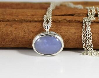 Blue gemstone necklace, Blue pendant necklace, Blue Chalcedony Gemstone, Blue necklace, Gemstone Necklace, December birthstone jewelry