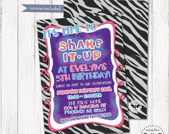 Girly Dance Party Invitation Printable / DIGITAL Zebra Pink and Purple Birthday Invitation