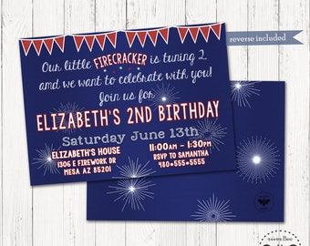 Firework, 4th of July Birthday Party Invitation Printable / Red White & Blue Party / American Party Digital Invite