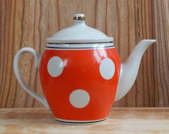 Soviet Vintage Faience Teapot Red White Polka Dot Teapot, Faience Teapot, Russian Home Decor, USSR era on the 1970-s.