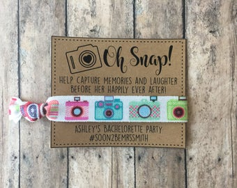 Oh Snap Bachlorette personalized hair tie favors,Camera hair tie favor,bachlorette gifts,Bachlorette survival kit,bachlorette unique favors,