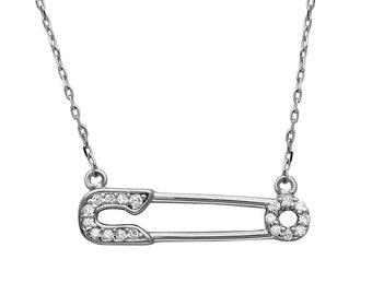 Diamond safety pin necklace