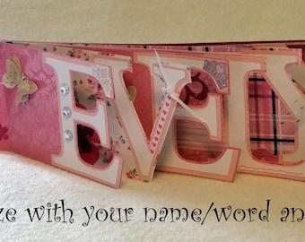 Scrapbook Word Album, Name Album, Baby, Scrapbook Album, Chipboard Album, Chipboard Letters, Chipboard Name, Baby Shower gift, Wedding Album