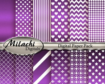 60% OFF SALE Metallic Purple Digital Paper Pack - Commercial Use - Instant Download - M54