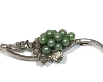Silver Grape Vine Vintage Brooch Green Pearl Grape Cluster Pin Vintage Jewelry