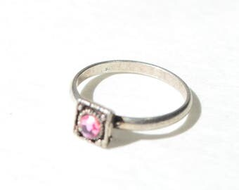 Vintage Sterling Silver 925 Pink Topaz Handmade Ring Size 4.25