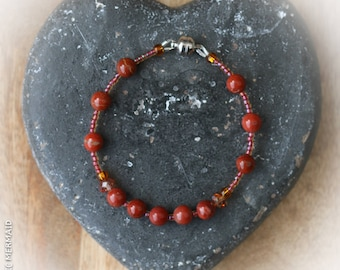 Red Jasper bracelet with strong Stainless steel magnetic clasp