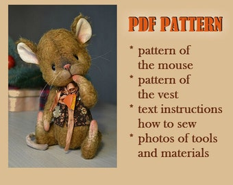 PDF teddy bear pattern download to create Teddy Bear stile Artis mouse Cheese 8 inch handmade collectible  Teddy Bear  mouse  sewing pattern