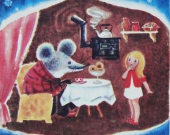 Thumbelina. Hans Christian Andersen. Illustrator Ipateva. Vintage Soviet Postcard - 1972. Mystetstvo, Kiev. Girl, Mouse, House, Winter