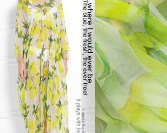 130CM Wide 8MM Thin Lemon Yellow Print Silk Chiffon Fabric for Summer Clothes Dress Shirt E009