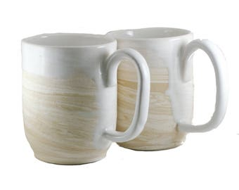 Pair: Unique Coffee Mugs \ Tea Cup, Marbled Pint Steins, White & Tan Large Handle 16 oz pottery, Wheel Thrown ceramic